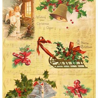 Декупажная карта Сани Рождественник Рождество Новый Год Ангелочки 173V 55 г/м2, А4, 210Х290 мм