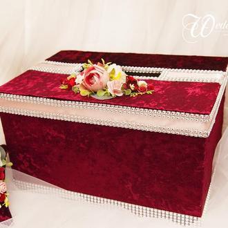 Сундук для денег марсала / Скриня для грошей бордова / Коробка весільна / Для свадьбы