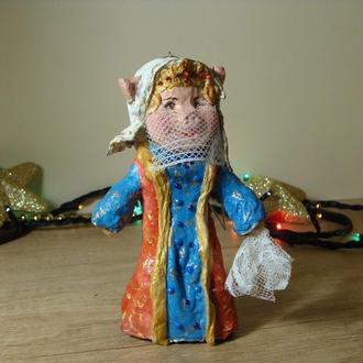 Ватная елочная игрушка Свинка любимая жена