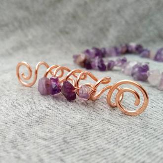 Бусина для дред аметист, дредобусины, украшения для дред, медь, dread bead, dreadlocks bead