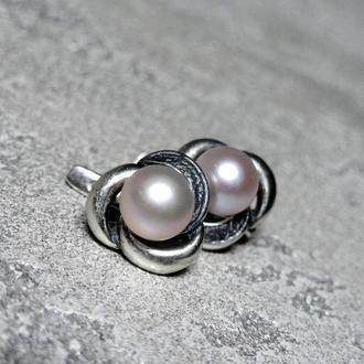Серьги черненое серебро с натуральным жемчугом