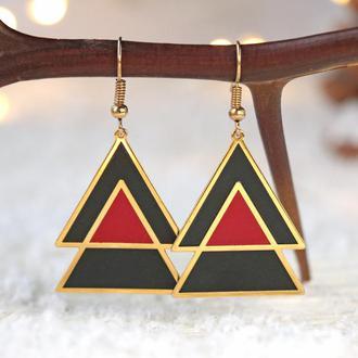 Позолоченные серьги - Треугольник красно-черный Ель 8092