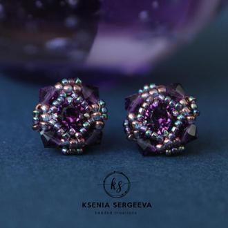 """Серьги-гвоздики """"Lilac crystal"""""""