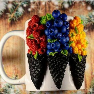 Вкусная Чашка, кружка с декором, кружка из полимерной глины, чашка на заказ, кружка