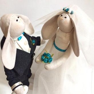 Свадебные зайки, пара молодоженов свадьба девичник невеста подарок годовщина
