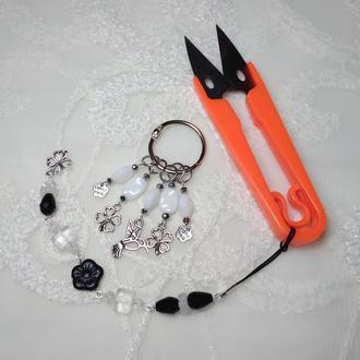 Набор: маркеры для вязания, маячок для ножниц и ниткорезы