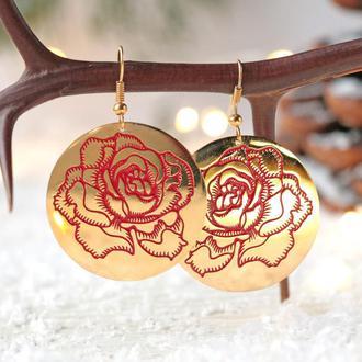 Позолоченные серьги - Круг красная роза Испания 8150