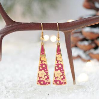 Позолоченные серьги - Треугольник вытянутый розовые цветы Лето 8166