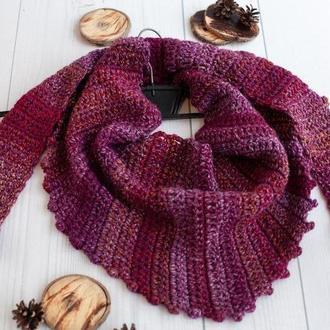 Бактус шарф крупной вязки бордо-баклажан, треугольный шарф косынка
