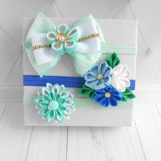 Набор голубых повязок девочке на годик Украшения на голову с цветами на фотосессию Подарок малышке