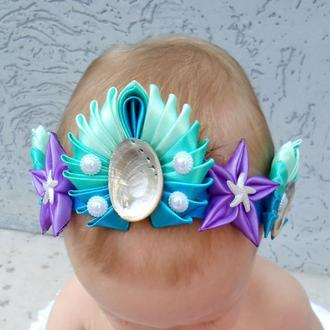 Повязка малышке в морском стиле Корона русалки девочке на фотосессию Подарок новорождённой на годик