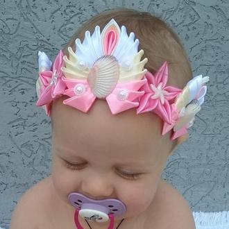 Розовая корона русалки Повязка девочке на фотосессию Украшение на голову малышке Подарок на годик