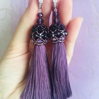 Фиолетовые серьги-кисти
