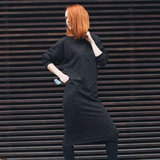 Черное платье миди, трикотажное платье, зимнее платье, теплое платье, в крапинку, летучая мышь, миди