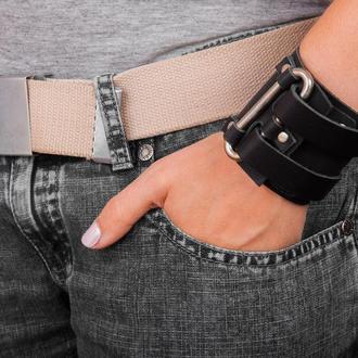 Широкий кожаный браслет уникального внешнего вида код 3118