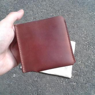 Мужской кожаный кошелек бумажник портмоне из толстой кожи для карточек и денег
