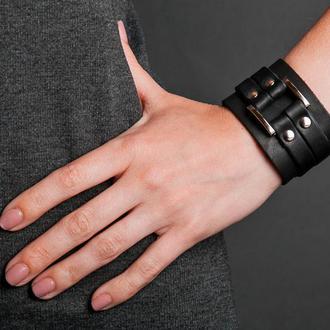 Чорний квадратний шкіряний браслет на кнопках код 3120