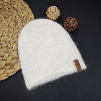 В наличии пушистая белая тофу зимняя теплая шапка бини ангора 80 шапка из кролика