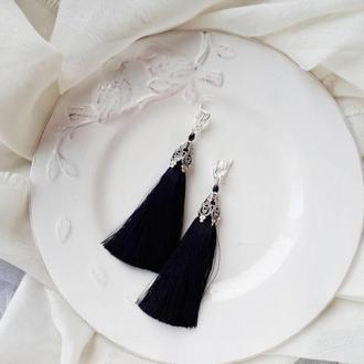 черные серьги кисточки серьги кисти черные купить серьги кисти черные с чем носить