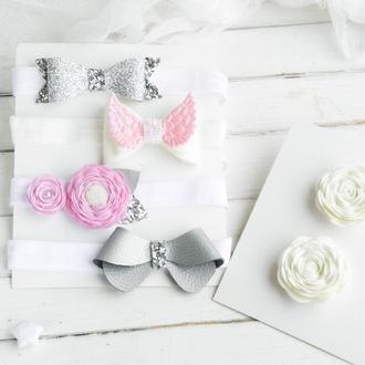 Набор аксессуаров для малышки, Подарок девочке на годик, Детская повязка Резинки для волос с цветами