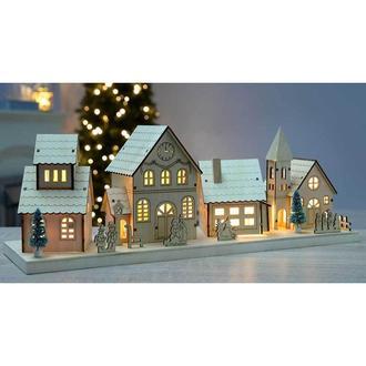 Новый деревянный домик с подсветкой WerChristmas. новогодняя декорация