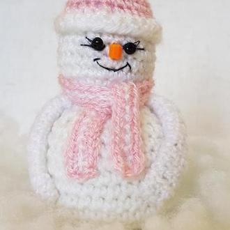 Снеговик, новогодняя мягкая елочная игрушка, сувенир-подарок