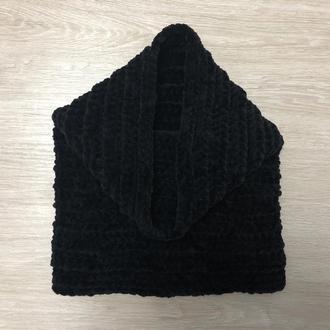 Снуд хомут шарф вязаный черный велюр