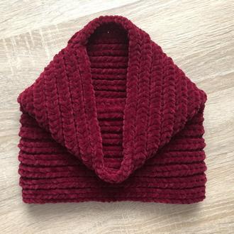 Снуд хомут шарф вязаный бордовый велюр