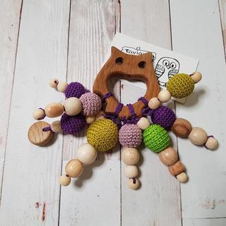 Сова грызунок в фиолетовом цвете, погремушка для новорожденного