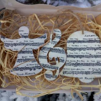 Новогодние игрушки на елку Необычные елочные Подарок учителю музыки фортепиано Ангел с нотами