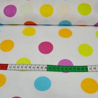 Ткань для квилтинга, пэчворка, лоскутного шитья, Бязь, горохи 4 см
