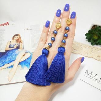 Синие серьги - кисти с кристаллами Swarovski