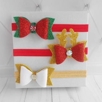 Набор повязок для новогодней фотосессии малышке Украшения для волос девочке Красивый подарок