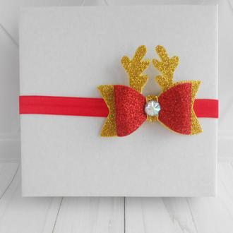 Новогодняя повязка с рожками оленя для малышки Украшение для волос на фотосессию Подарок девочке