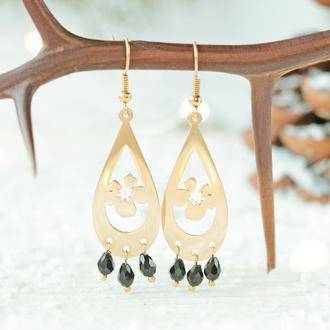 Позолоченные серьги - Капля золотая черный камень Свидание 8238