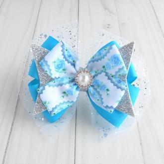 Новогодний бант на резинке для девочки Голубое украшение для волос на утренник Подарок ребенку