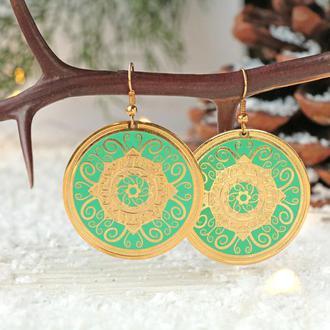 Позолоченные серьги - Круг зеленый узор Солнце 8317