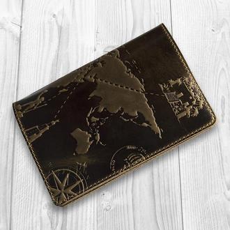 "Обложка для паспорта HiArt PC-01 Shabby Olive ""7 wonders of the world"""