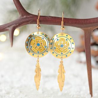 Позолоченные серьги - Круг сине-желтый цветок Ловец снов 8581