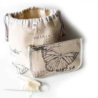 Проектный набор для вязания -сумка и холдер для спиц Бабочки