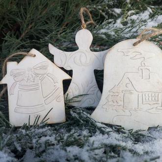 Необычные новогодние деревянные игрушки Елочные украшения Винтажные игрушки на елку Набор подарочный