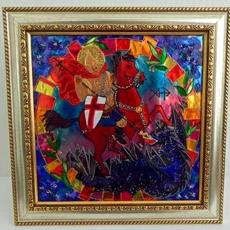 Витражная картина «Георгий Победоносец на алом коне»