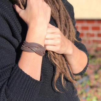Кожаный плетеный женский браслет