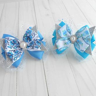Набор нарядных бантиков на резинке для девочки Голубое украшение для волос Подарок на Новый год
