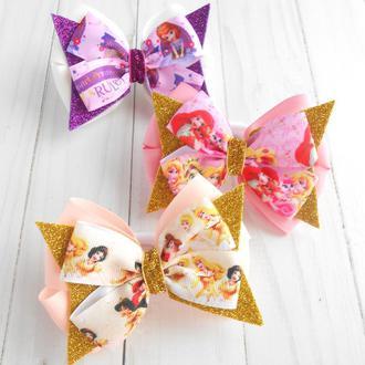 Набор бантиков на резинке с принцессами девочке 3 шт Подарок на день рождение Украшение для волос