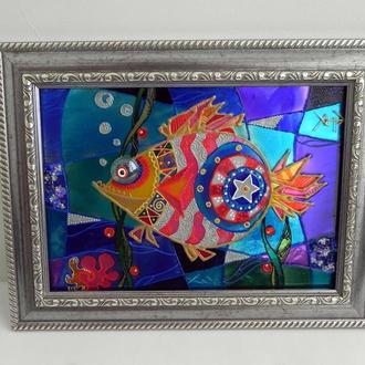 Витражная картина «Янки-рыба»