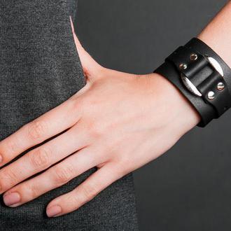 Черный кожаный браслет для на кнопках код 3143