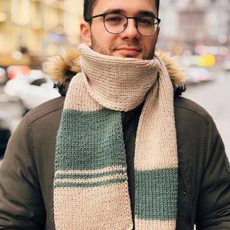 Мужской шарф бежевый с зеленым