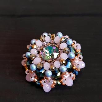 Брошка з кристалами та перлами Swarovski ′ Rosaline ′ брошь подарок жене на новый год
