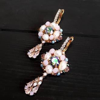 Позолочені сережки з кристалами Swarovski та перлами подарок жене на новый год